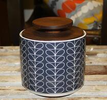 Orla Kiely - Porslin - Förvaringsburk - Linear stem dark grey