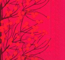 Marimekko - Pappersservett - Kaffeservett - Lumimarja - Röd