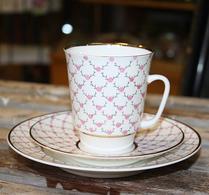 Porslin - Kaffegods - Rosa - Romantik
