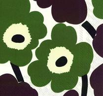 Marimekko - Pappersservett - Kaffeservett - Unikko - Grön - Brun