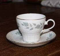 Rörstrand - Porslin - Grå bladdekor - Kaffekopp