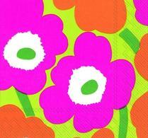 Marimekko - Pappersservett - Unikko - Rosa - Grön