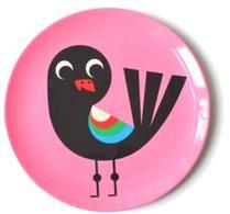 Barntallrik - Ingela P Arrhenius - Melamin - Tallrik Bird on pink