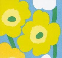 Marimekko servett, Unikko gulgrön/ljusblå