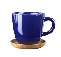 Höganäs - Porslin - kaffemugg - Mugg med träfat havsblå blank