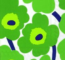 Marimekko - Pappersservett  - Kaffeservertt - Unikko - Grön