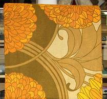 Gardin - Gardinlängd - Retro - Textil - Orangeblommig