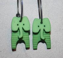 K-form - Örhänge - Elefant - Grön