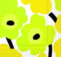 Marimekko - Pappersservett - Unikko - Gul - Grön