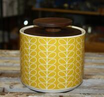 Orla Kiely - Porslin - Burk med trälock - Linear stem yellow
