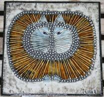 "Lisa Larson - Keramik - Väggplatta - ""UNIK"" - Katt"
